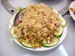 Vietnamese fried rice with pork rousong topping