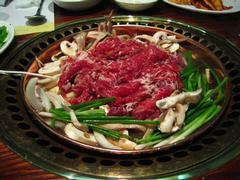 Bulgogi, a grilled Korean dish