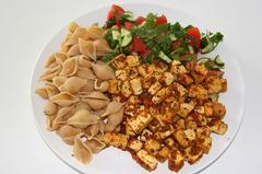 Vegan dish with tofu and pasta