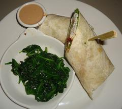 chicken wrap with spinach and sauce