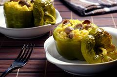Bell Peppers stuffed with Mushroom Corn Rice Pilaf