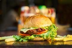 beef burger with lettuce