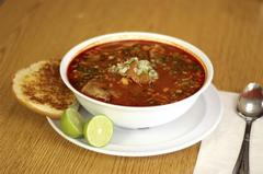 Traditional mexican red pozole soup
