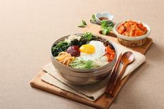 Bibimbop. Mixed rice with vegetables